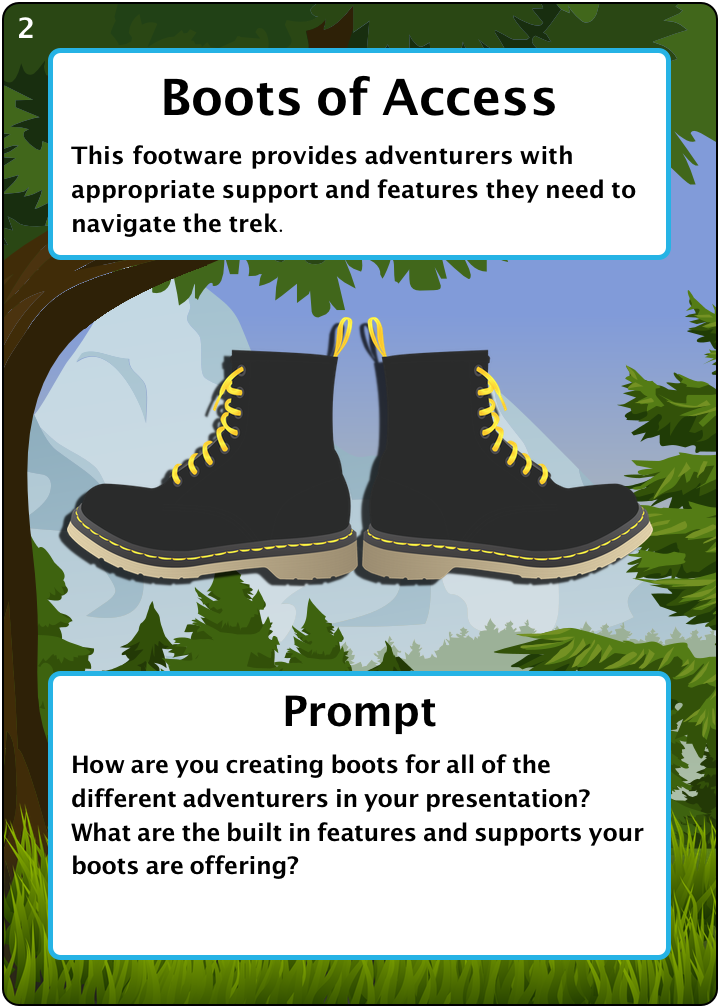 The Boots of Access. Number 2 of 6 of our camping items. Description: This footware provides adventurers with appropriate support and features they need to navigate the trek. Prompt: How are you creating boots for all of the different adventurers in your presentation? What are the built in features and supports your boots are offering?