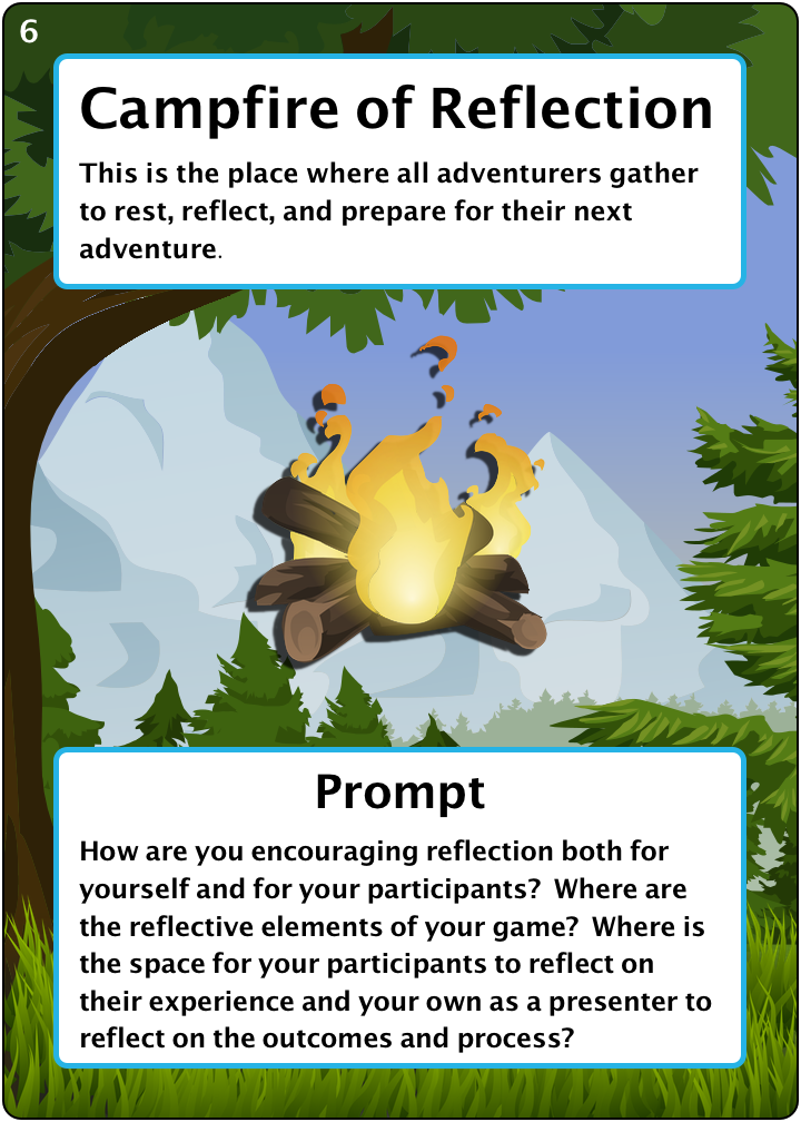 The Campfire of Reflection. Number 6 of 6 of our camping items. Description: This is the place where all adventurers gather to rest, reflect, and prepare for their next adventure. Prompt: How are you encouraging reflection both for yourself and for your participants? Where are the reflective elements of your game? Where is the space for your participants to reflect on their experience and your own as a presenter to reflect on the outcomes and process?
