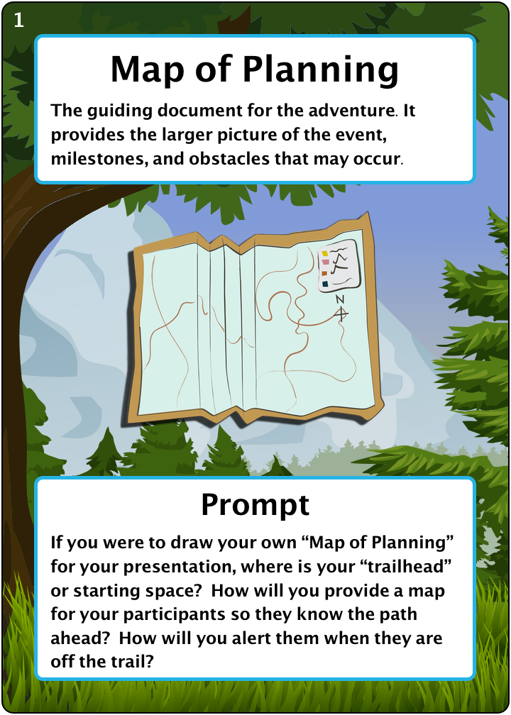 """The Map of Planning. Number 1 of 6 of our camping items. Description: The guiding document for the adventure. It provides the larger picture of the event, milestones, and obstacles that may occur. Prompt: If you were to draw your own """"Map of Planning"""" for your presentation, where is your """"trailhead"""" or starting space? How will you provide a map for your participants so they know the path ahead? How will you alert them when they are off the trail?"""