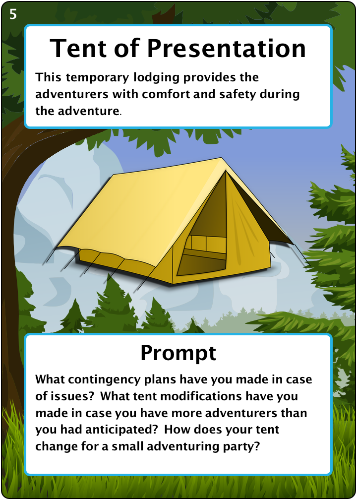The Tent of Presentation. Number 5 of 6 of our camping items. Description: This temporary lodging provides the adventurers with comfort and safety during the adventure. Prompt: What contingency plans have you made in case of issues? What tent modifications have you made in case you have more adventurers than you had anticipated? How does your tent change for a small adventuring party?